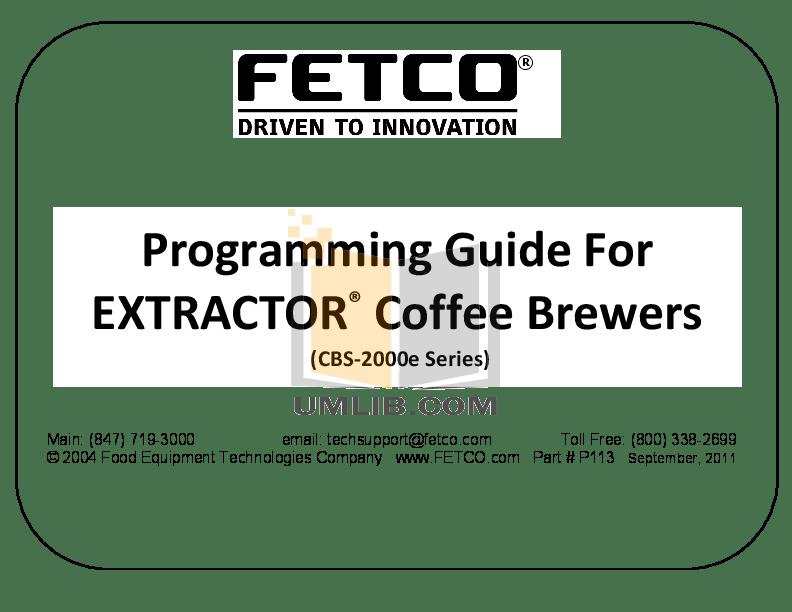 Download free pdf for Fetco CBS-2032e Coffee Maker manual